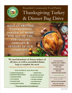 Thanksgiving Turkey & Dinner Bag Drive